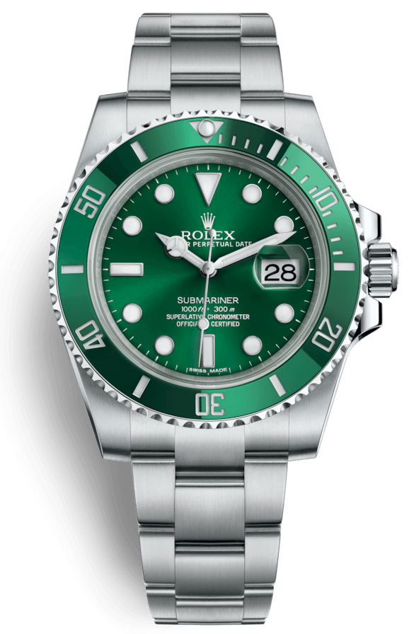 "Rolex Submariner Date 40mm Steel Ceramic ""Hulk"""