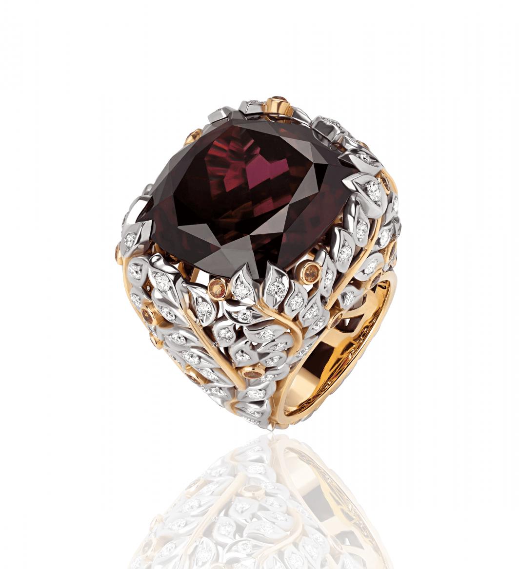 Кольцо c бриллиантами и родолит